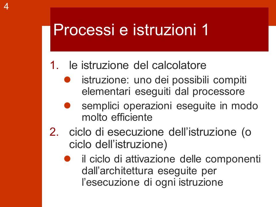 4 Processi e istruzioni 1 1.le istruzione del calcolatore istruzione: uno dei possibili compiti elementari eseguiti dal processore semplici operazioni eseguite in modo molto efficiente 2.ciclo di esecuzione dell'istruzione (o ciclo dell'istruzione) il ciclo di attivazione delle componenti dall'architettura eseguite per l'esecuzione di ogni istruzione