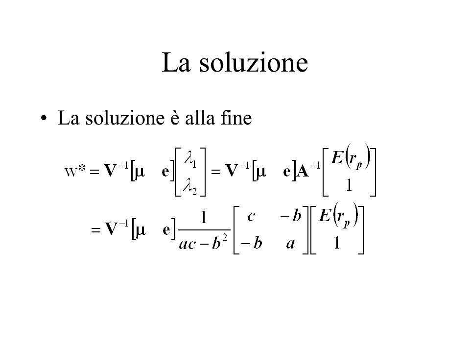 La soluzione La soluzione è alla fine