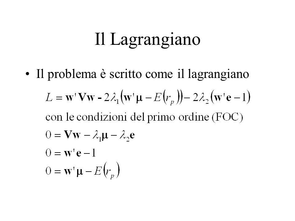 Il Lagrangiano Il problema è scritto come il lagrangiano