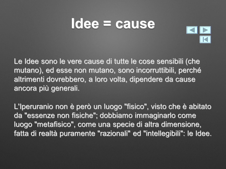 Idee = cause Le Idee sono le vere cause di tutte le cose sensibili (che mutano), ed esse non mutano, sono incorruttibili, perché altrimenti dovrebbero