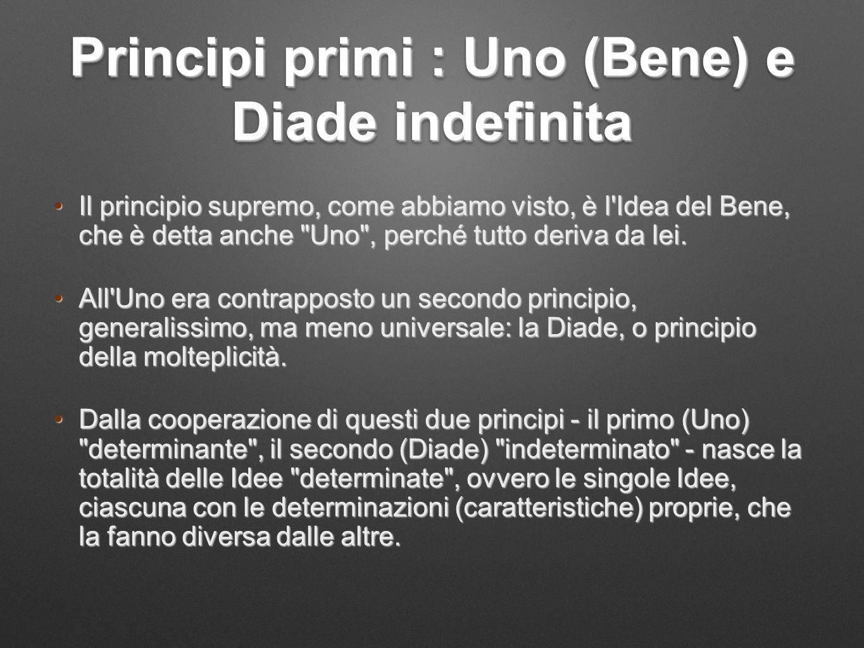 Principi primi : Uno (Bene) e Diade indefinita Il principio supremo, come abbiamo visto, è l'Idea del Bene, che è detta anche
