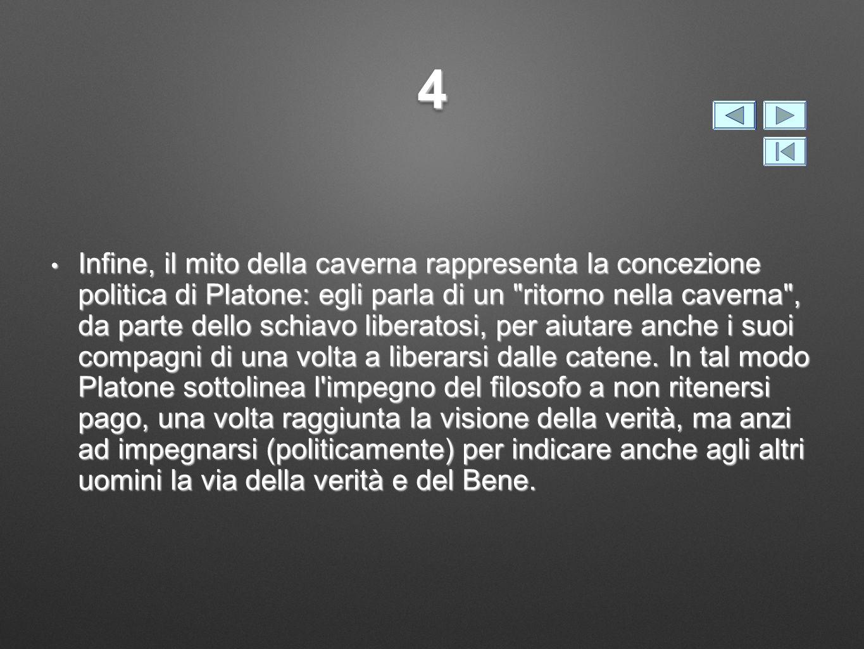 44 Infine, il mito della caverna rappresenta la concezione politica di Platone: egli parla di un