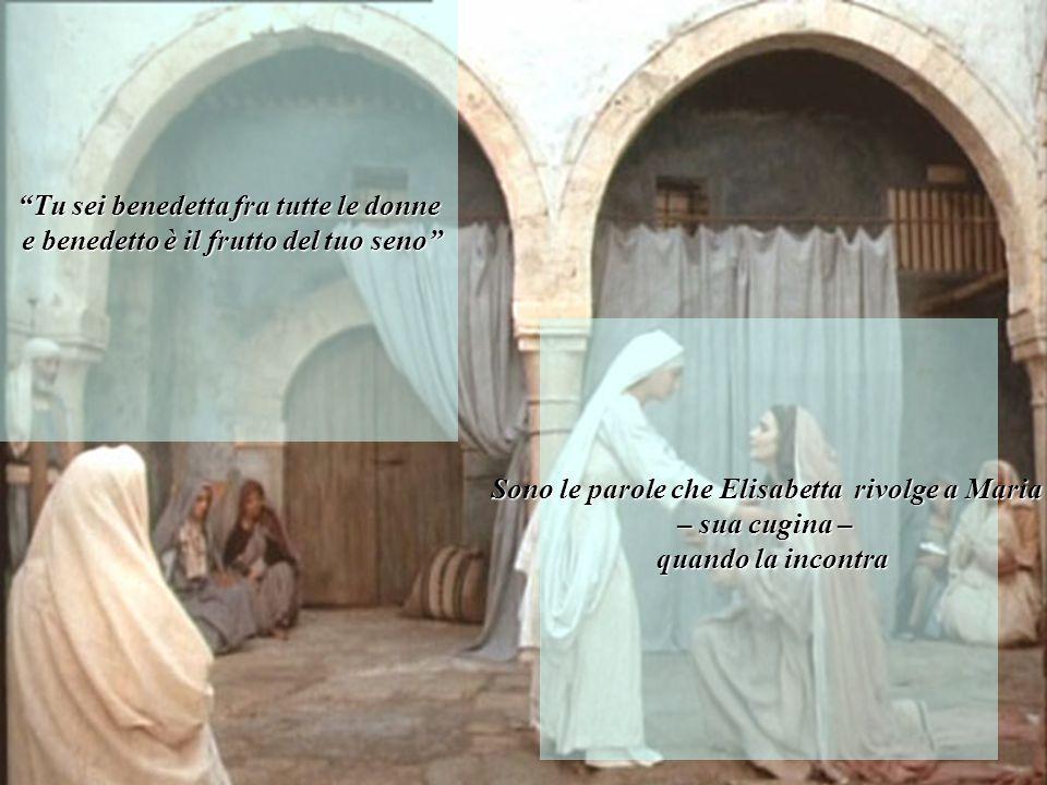 """""""Tu sei benedetta fra tutte le donne e benedetto è il frutto del tuo seno"""" e benedetto è il frutto del tuo seno""""Sono le parole che Elisabetta rivolge"""