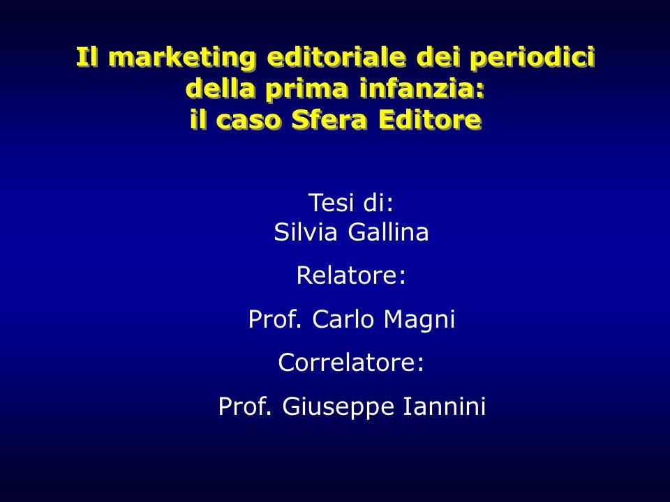 Il marketing editoriale dei periodici della prima infanzia: il caso Sfera Editore Tesi di: Silvia Gallina Relatore: Prof. Carlo Magni Correlatore: Pro