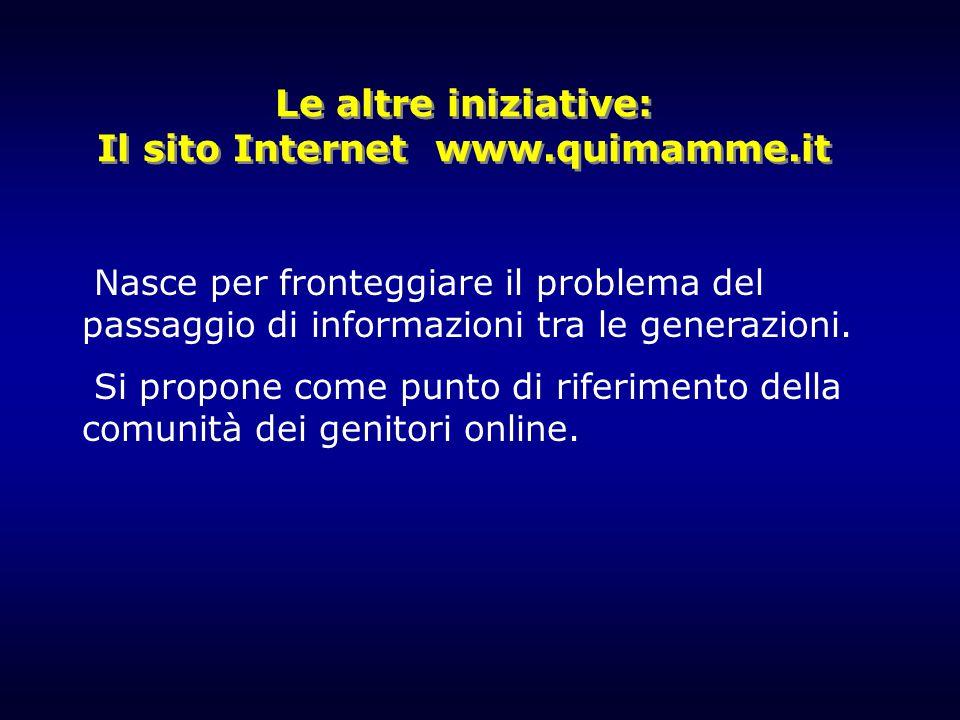 Le altre iniziative: Il sito Internet www.quimamme.it Nasce per fronteggiare il problema del passaggio di informazioni tra le generazioni. Si propone
