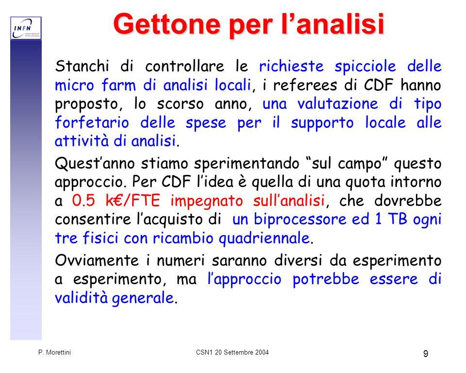 CSN1 20 Settembre 2004 P.Morettini 10Riassunto Le richieste di manutenzioni sono in caduta libera.
