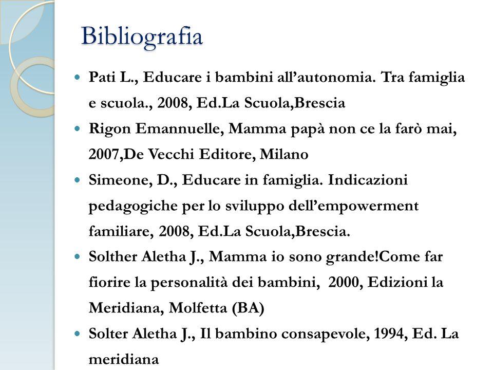 Bibliografia Pati L., Educare i bambini all'autonomia.