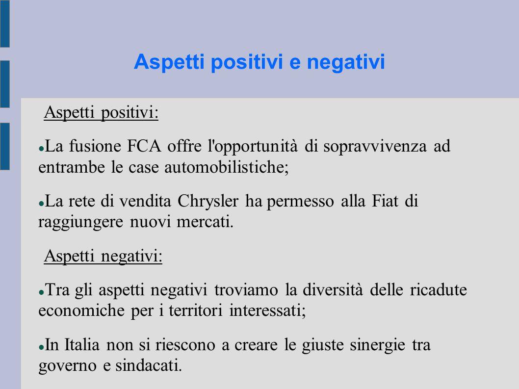 Aspetti positivi e negativi Aspetti positivi: La fusione FCA offre l opportunità di sopravvivenza ad entrambe le case automobilistiche; La rete di vendita Chrysler ha permesso alla Fiat di raggiungere nuovi mercati.