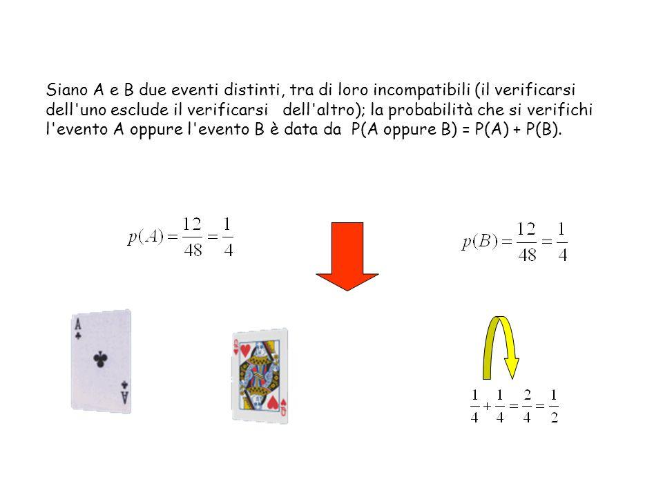 Siano A e B due eventi distinti, tra di loro incompatibili (il verificarsi dell'uno esclude il verificarsi dell'altro); la probabilità che si verifich