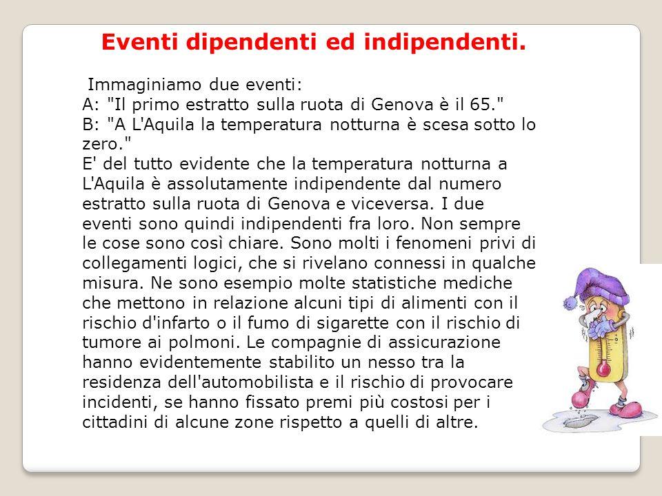 Eventi dipendenti ed indipendenti. Immaginiamo due eventi: A: