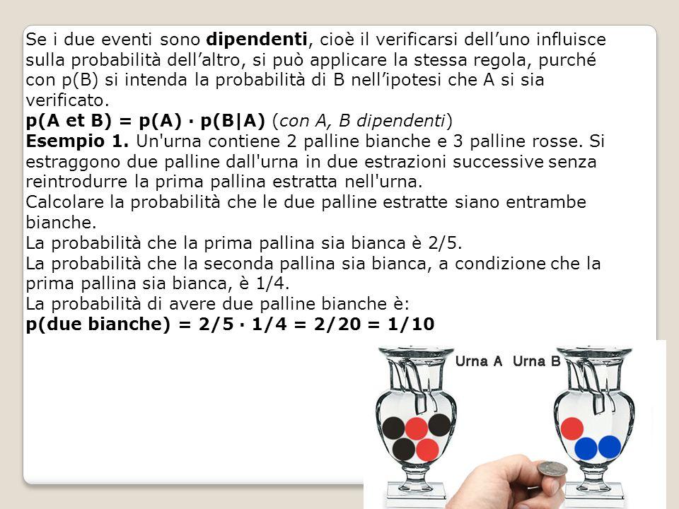 Se i due eventi sono dipendenti, cioè il verificarsi dell'uno influisce sulla probabilità dell'altro, si può applicare la stessa regola, purché con p(
