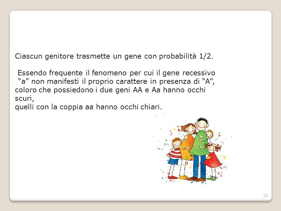 """32 Ciascun genitore trasmette un gene con probabilità 1/2. Essendo frequente il fenomeno per cui il gene recessivo """"a"""" non manifesti il proprio caratt"""