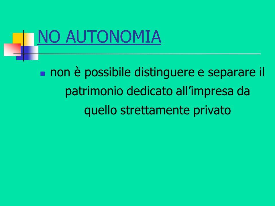 NO AUTONOMIA non è possibile distinguere e separare il patrimonio dedicato all'impresa da quello strettamente privato