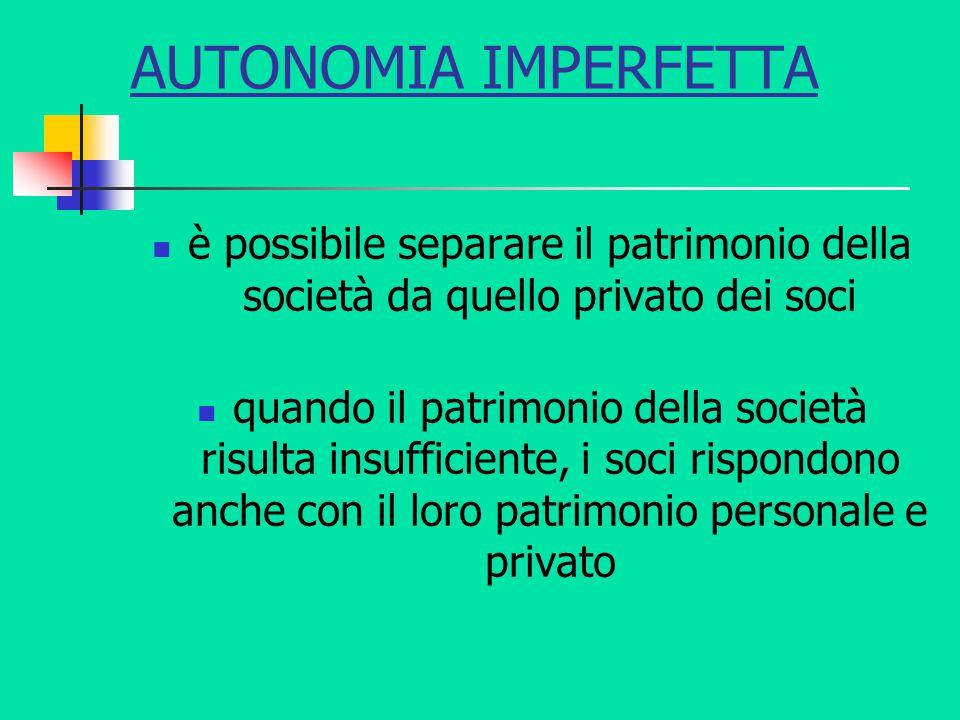 AUTONOMIA IMPERFETTA è possibile separare il patrimonio della società da quello privato dei soci quando il patrimonio della società risulta insufficie
