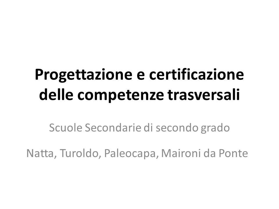 Progettazione e certificazione delle competenze trasversali Scuole Secondarie di secondo grado Natta, Turoldo, Paleocapa, Maironi da Ponte