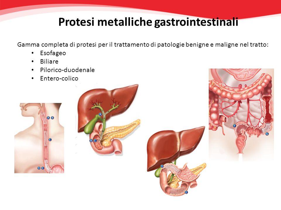 Gamma completa di protesi per il trattamento di patologie benigne e maligne nel tratto: Esofageo Biliare Pilorico-duodenale Entero-colico Protesi meta
