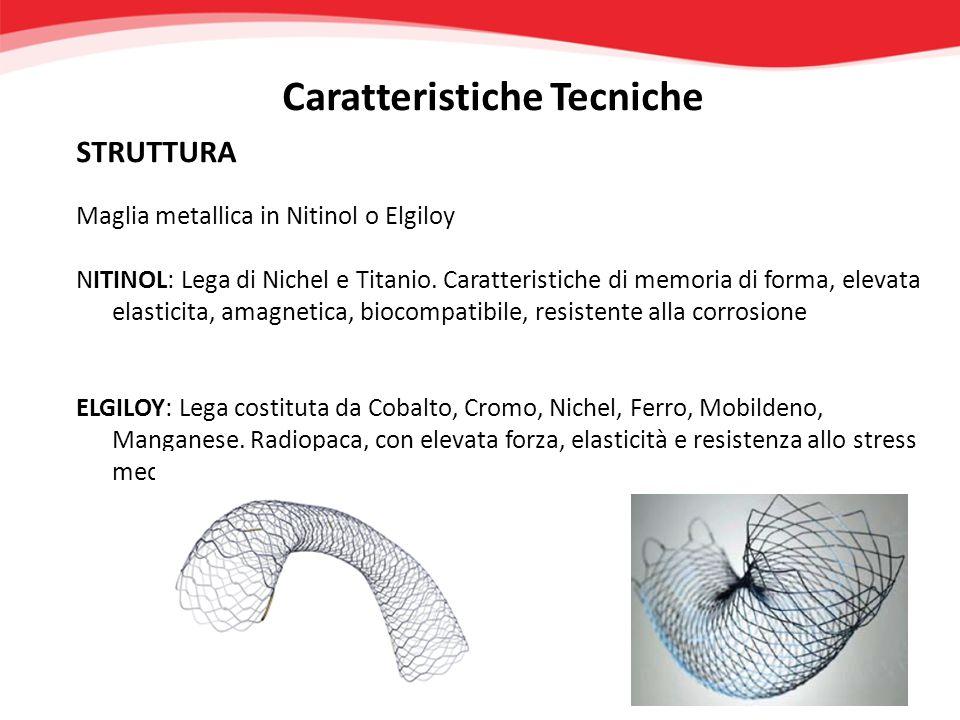 STRUTTURA Caratteristiche Tecniche Maglia metallica in Nitinol o Elgiloy NITINOL: Lega di Nichel e Titanio. Caratteristiche di memoria di forma, eleva