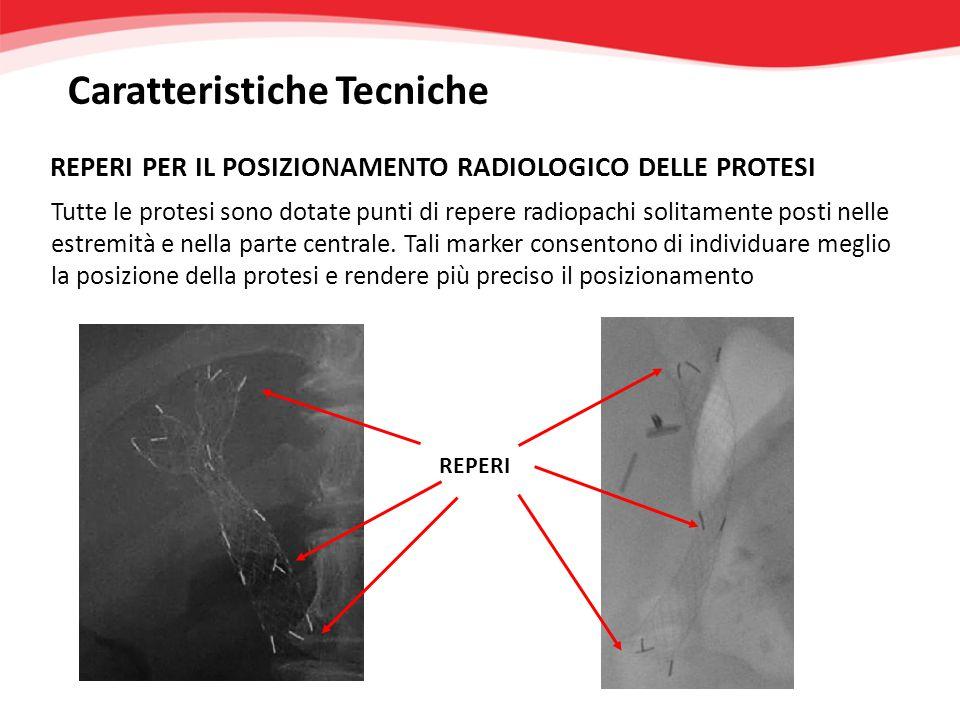 Tutte le protesi sono dotate punti di repere radiopachi solitamente posti nelle estremità e nella parte centrale. Tali marker consentono di individuar