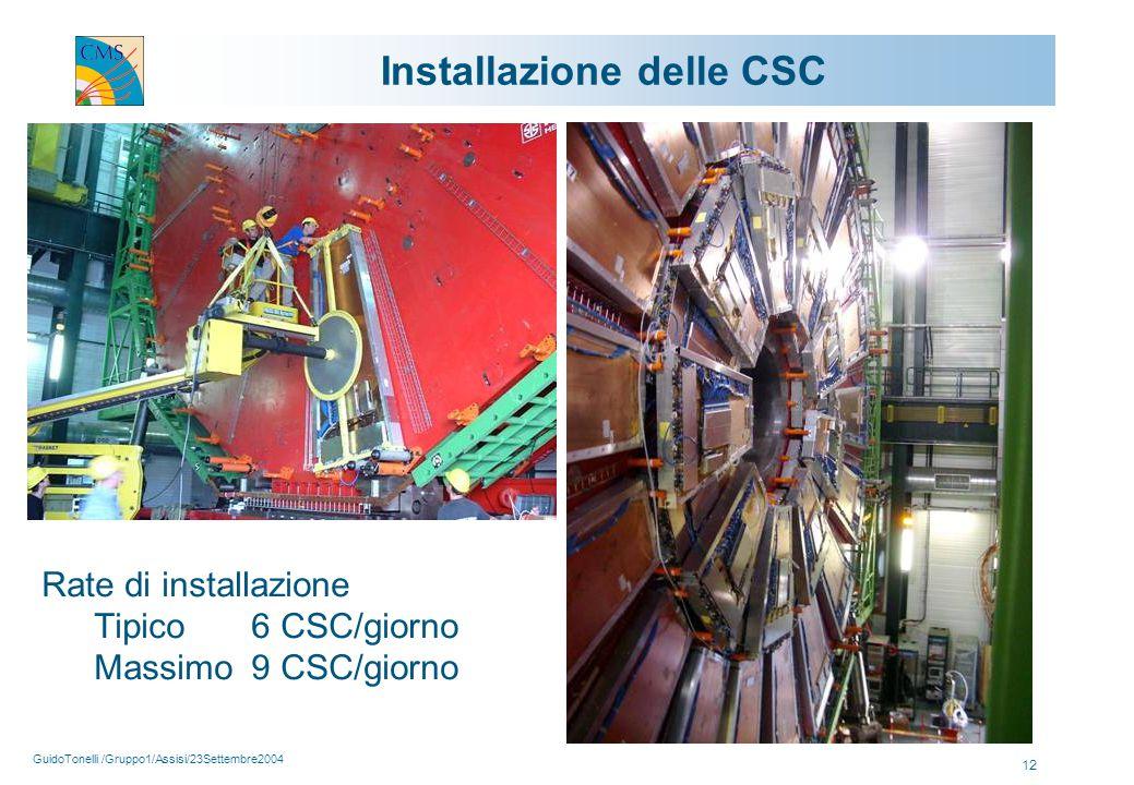 GuidoTonelli /Gruppo1/Assisi/23Settembre2004 12 Installazione delle CSC Rate di installazione Tipico 6 CSC/giorno Massimo9 CSC/giorno