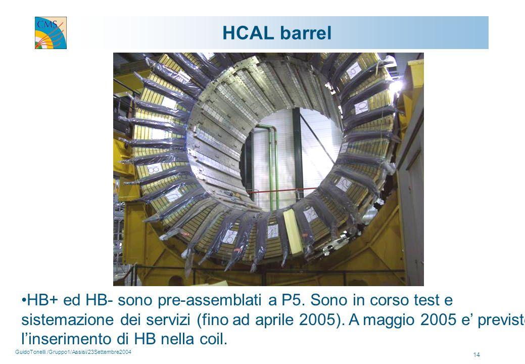 GuidoTonelli /Gruppo1/Assisi/23Settembre2004 14 HCAL barrel HB+ ed HB- sono pre-assemblati a P5.