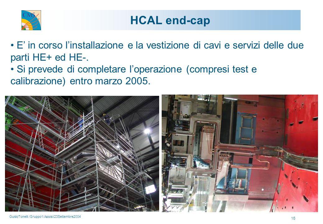 GuidoTonelli /Gruppo1/Assisi/23Settembre2004 15 HCAL end-cap E' in corso l'installazione e la vestizione di cavi e servizi delle due parti HE+ ed HE-.