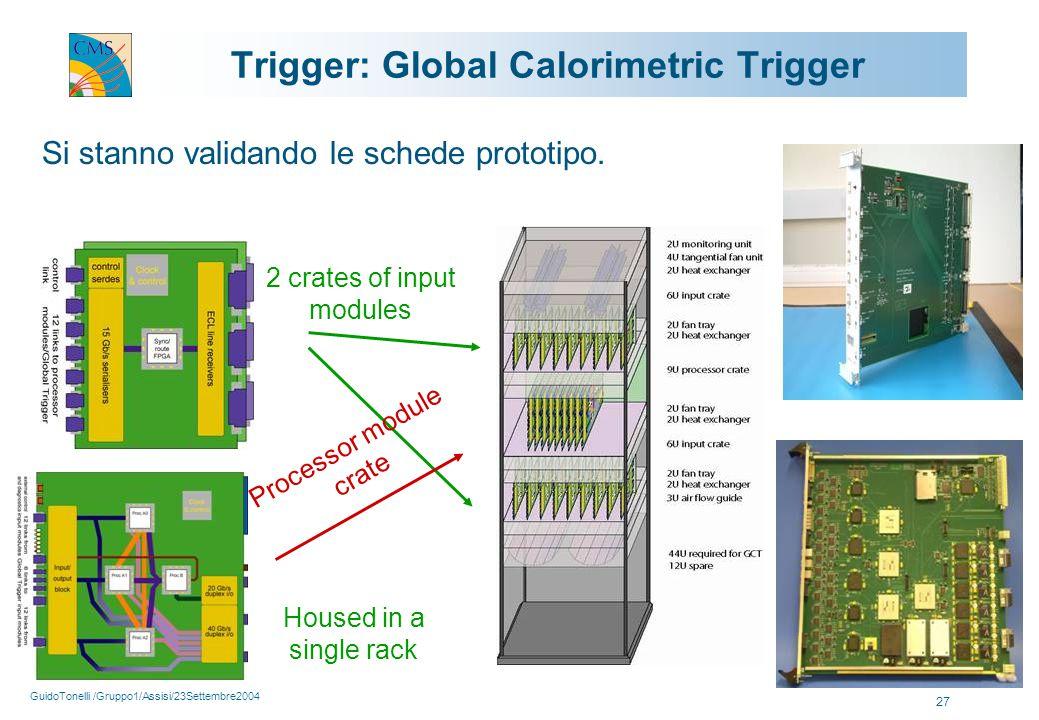 GuidoTonelli /Gruppo1/Assisi/23Settembre2004 27 Trigger: Global Calorimetric Trigger 2 crates of input modules Processor module crate Housed in a single rack Si stanno validando le schede prototipo.