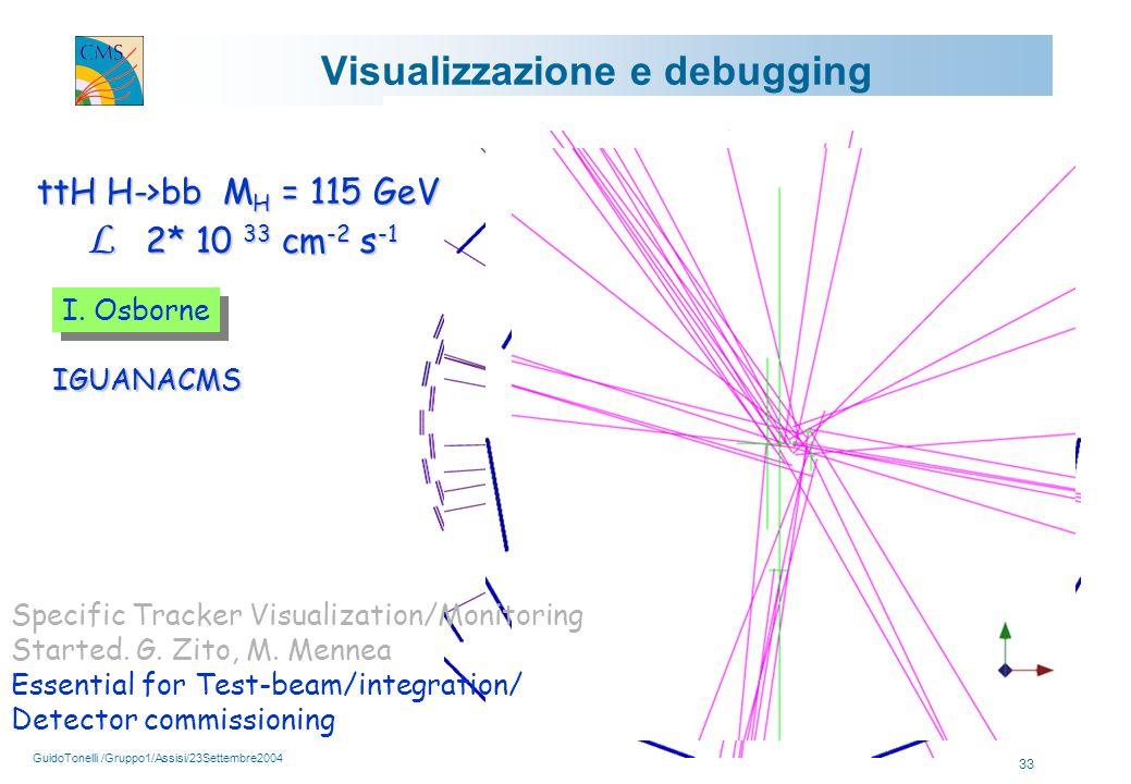 GuidoTonelli /Gruppo1/Assisi/23Settembre2004 33 Visualizzazione e debugging ttH H->bb M H = 115 GeV L 2* 10 33 cm -2 s -1 L 2* 10 33 cm -2 s -1 IGUANACMS I.