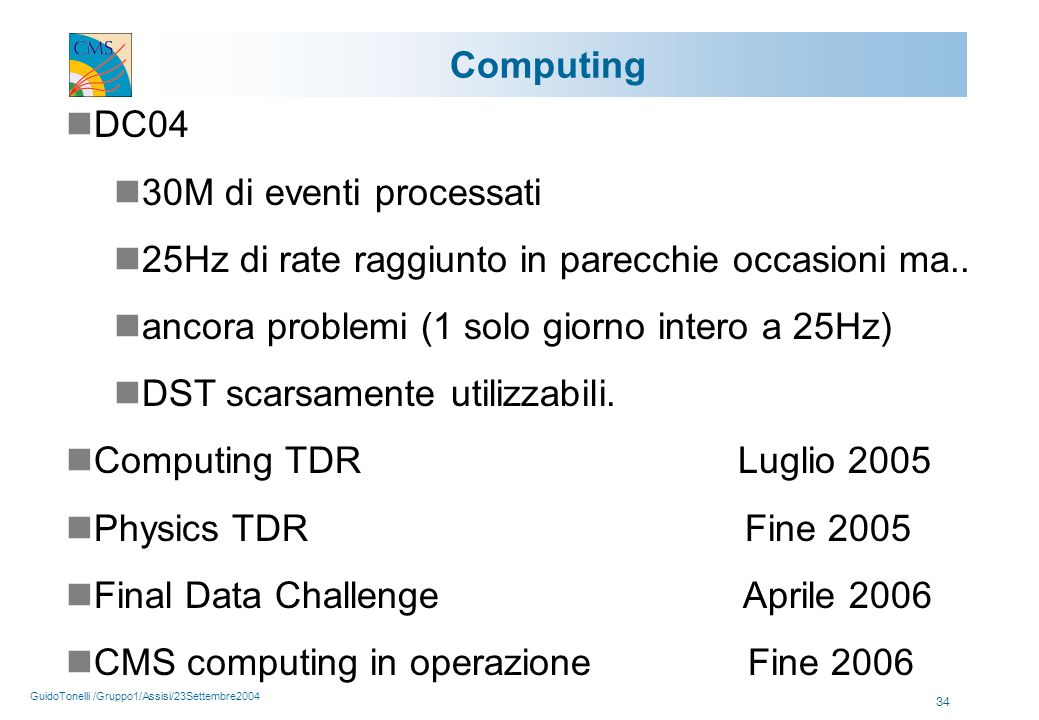 GuidoTonelli /Gruppo1/Assisi/23Settembre2004 34 Computing DC04 30M di eventi processati 25Hz di rate raggiunto in parecchie occasioni ma..