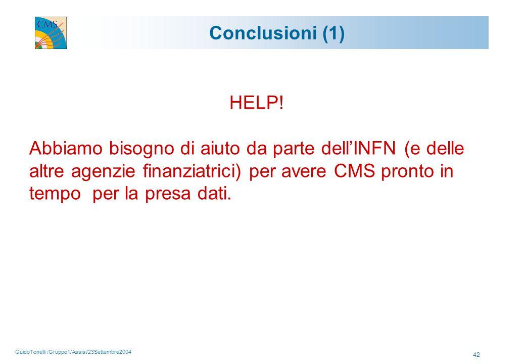 GuidoTonelli /Gruppo1/Assisi/23Settembre2004 42 Conclusioni (1) HELP.
