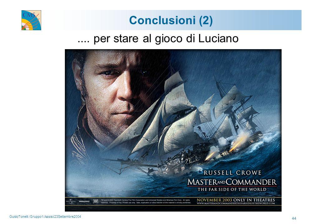 GuidoTonelli /Gruppo1/Assisi/23Settembre2004 44 Conclusioni (2).... per stare al gioco di Luciano