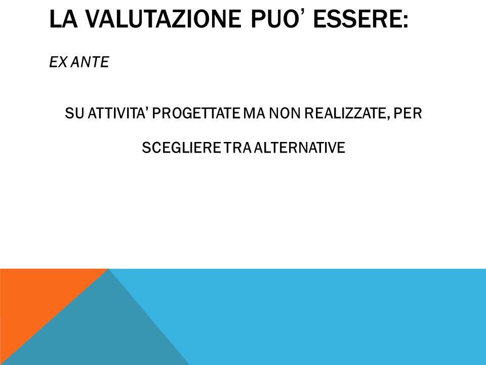 LA VALUTAZIONE PUO ' ESSERE: EX ANTE SU ATTIVITA ' PROGETTATE MA NON REALIZZATE, PER SCEGLIERE TRA ALTERNATIVE