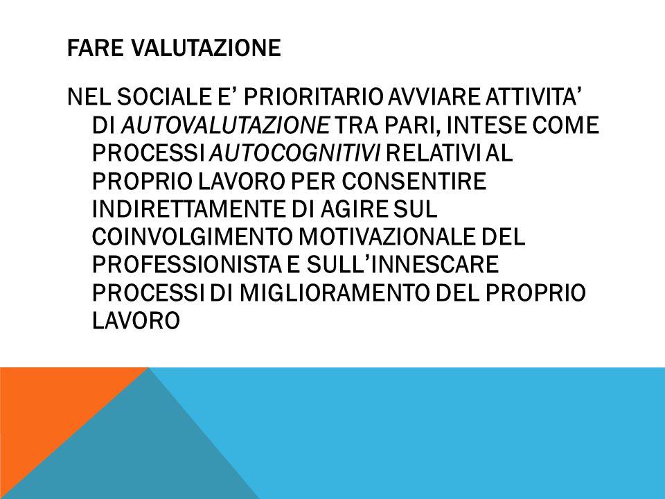 FARE VALUTAZIONE NEL SOCIALE E ' PRIORITARIO AVVIARE ATTIVITA ' DI AUTOVALUTAZIONE TRA PARI, INTESE COME PROCESSI AUTOCOGNITIVI RELATIVI AL PROPRIO LAVORO PER CONSENTIRE INDIRETTAMENTE DI AGIRE SUL COINVOLGIMENTO MOTIVAZIONALE DEL PROFESSIONISTA E SULL ' INNESCARE PROCESSI DI MIGLIORAMENTO DEL PROPRIO LAVORO