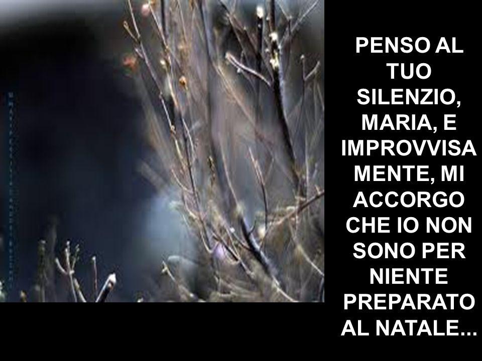 PENSO AL TUO SILENZIO, MARIA, E IMPROVVISA MENTE, MI ACCORGO CHE IO NON SONO PER NIENTE PREPARATO AL NATALE...