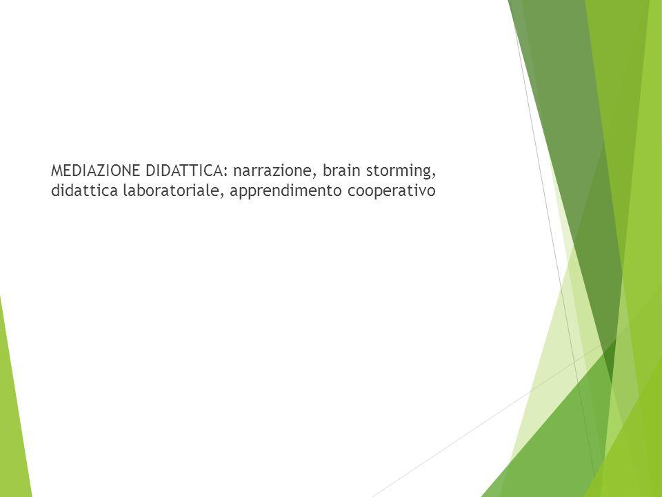 MEDIAZIONE DIDATTICA: narrazione, brain storming, didattica laboratoriale, apprendimento cooperativo