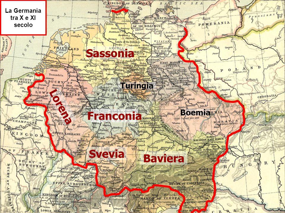 Sassonia Franconia Lorena Svevia Baviera Turingia Boemia La Germania tra X e XI secolo