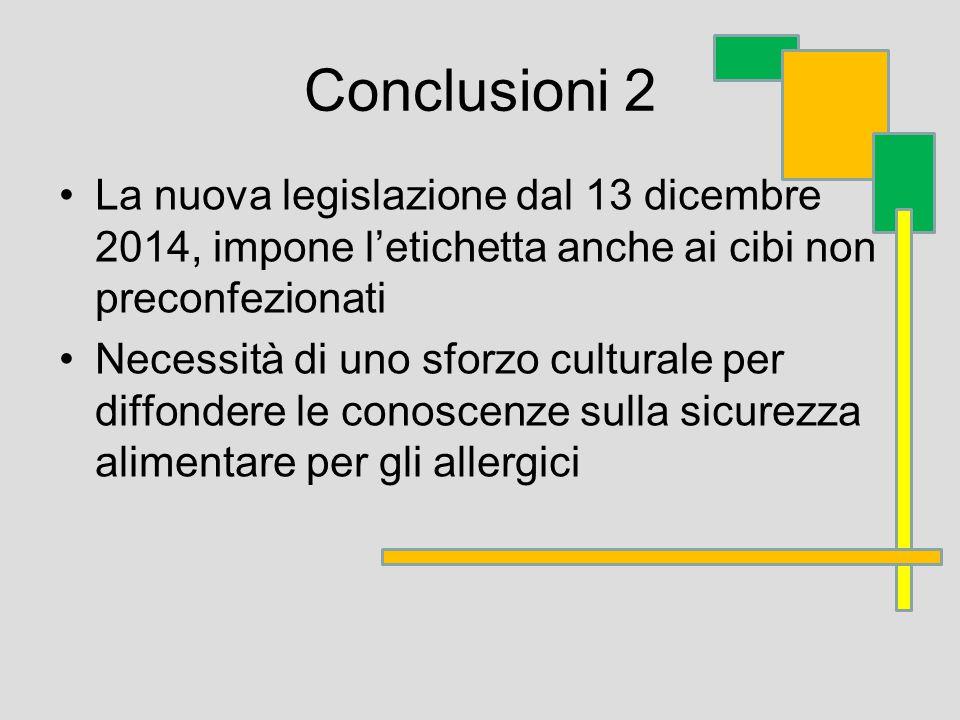 Conclusioni 2 La nuova legislazione dal 13 dicembre 2014, impone l'etichetta anche ai cibi non preconfezionati Necessità di uno sforzo culturale per diffondere le conoscenze sulla sicurezza alimentare per gli allergici