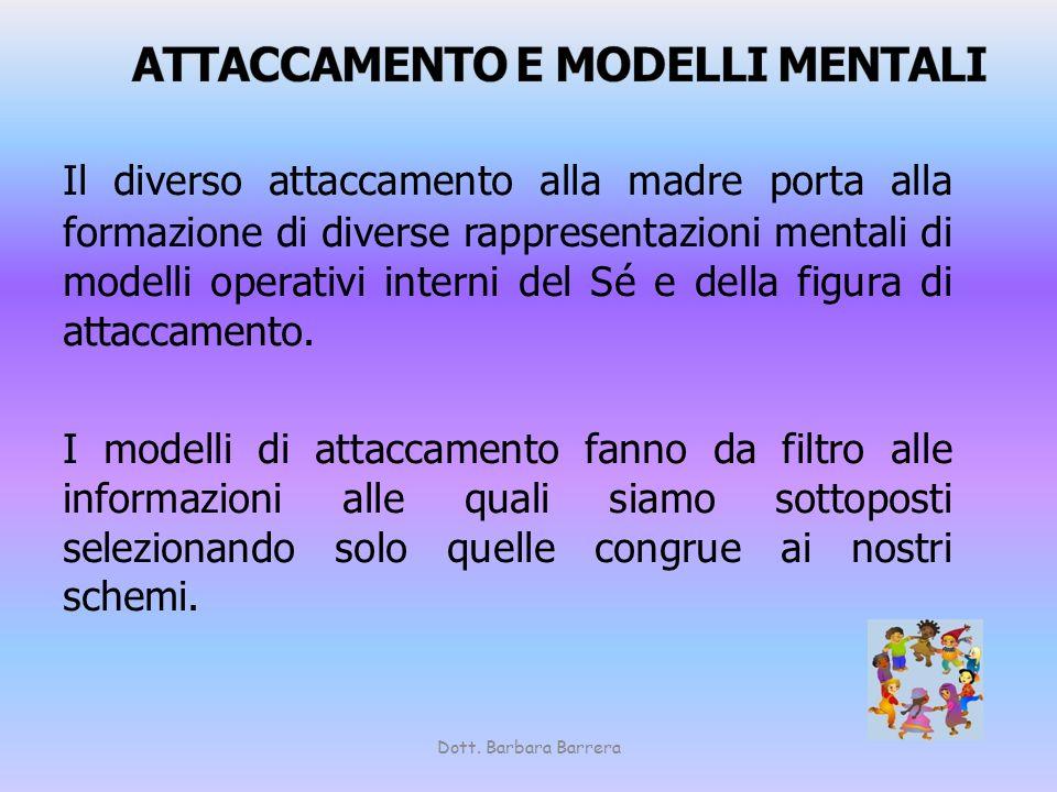 Il diverso attaccamento alla madre porta alla formazione di diverse rappresentazioni mentali di modelli operativi interni del Sé e della figura di att