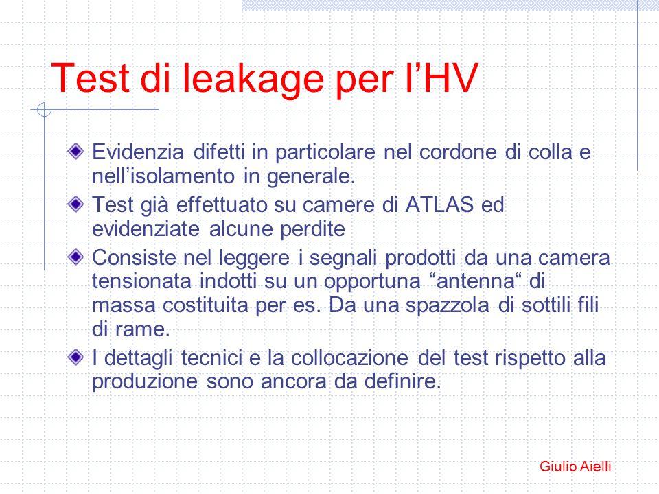 Test di leakage per l'HV Evidenzia difetti in particolare nel cordone di colla e nell'isolamento in generale.