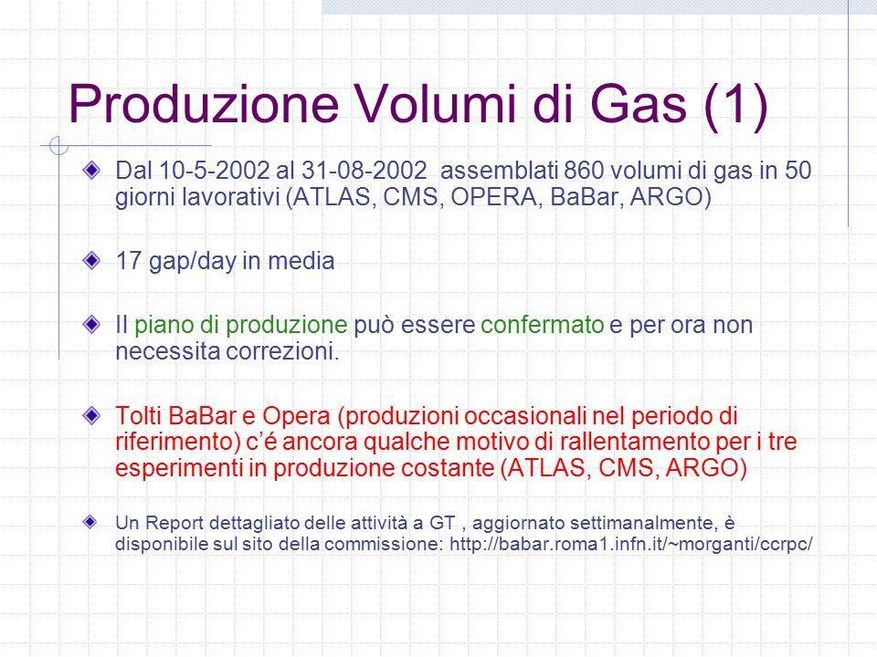 Produzione Volumi di Gas (1) Dal 10-5-2002 al 31-08-2002 assemblati 860 volumi di gas in 50 giorni lavorativi (ATLAS, CMS, OPERA, BaBar, ARGO) 17 gap/day in media Il piano di produzione può essere confermato e per ora non necessita correzioni.