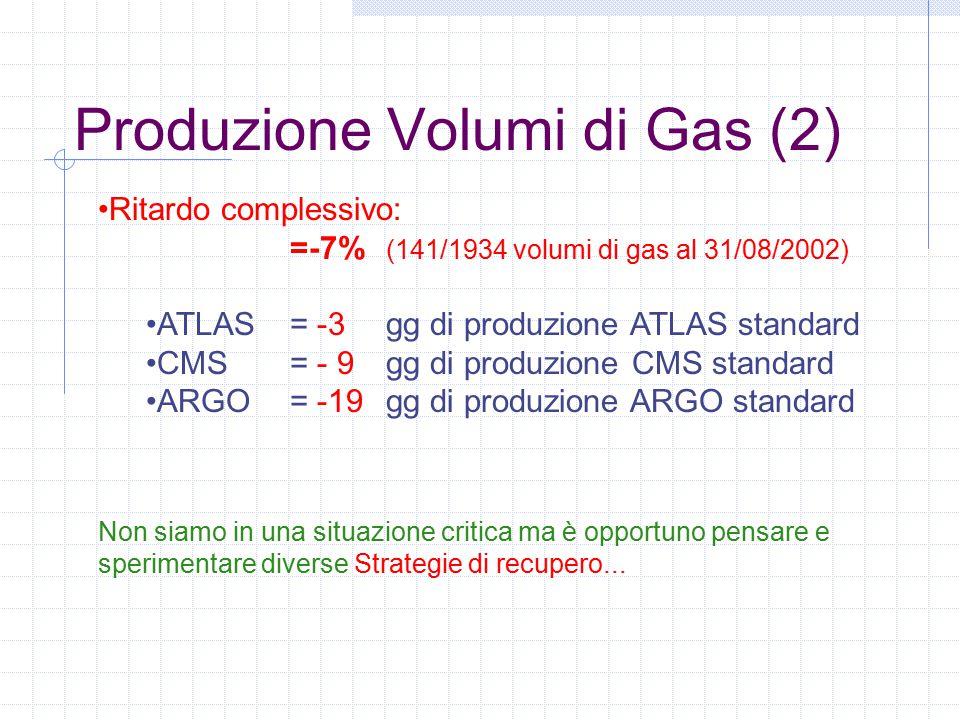 Produzione Volumi di Gas (2) Ritardo complessivo: =-7% (141/1934 volumi di gas al 31/08/2002) ATLAS = -3 gg di produzione ATLAS standard CMS = - 9 gg di produzione CMS standard ARGO = -19 gg di produzione ARGO standard Non siamo in una situazione critica ma è opportuno pensare e sperimentare diverse Strategie di recupero...