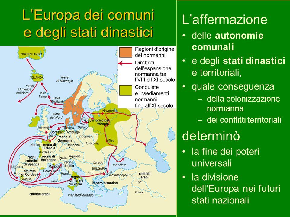 L'Europa dei comuni e degli stati dinastici L'affermazione delle autonomie comunali e degli stati dinastici e territoriali, quale conseguenza –della colonizzazione normanna –dei conflitti territoriali determinò la fine dei poteri universali la divisione dell'Europa nei futuri stati nazionali
