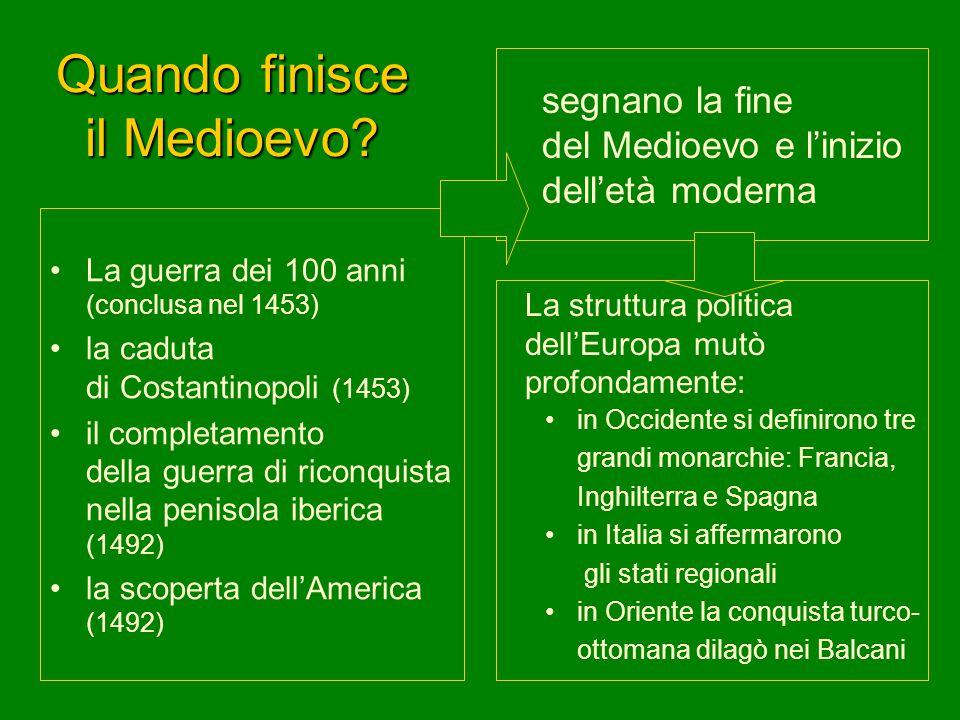 Quando finisce il Medioevo? La guerra dei 100 anni (conclusa nel 1453) la caduta di Costantinopoli (1453) il completamento della guerra di riconquista