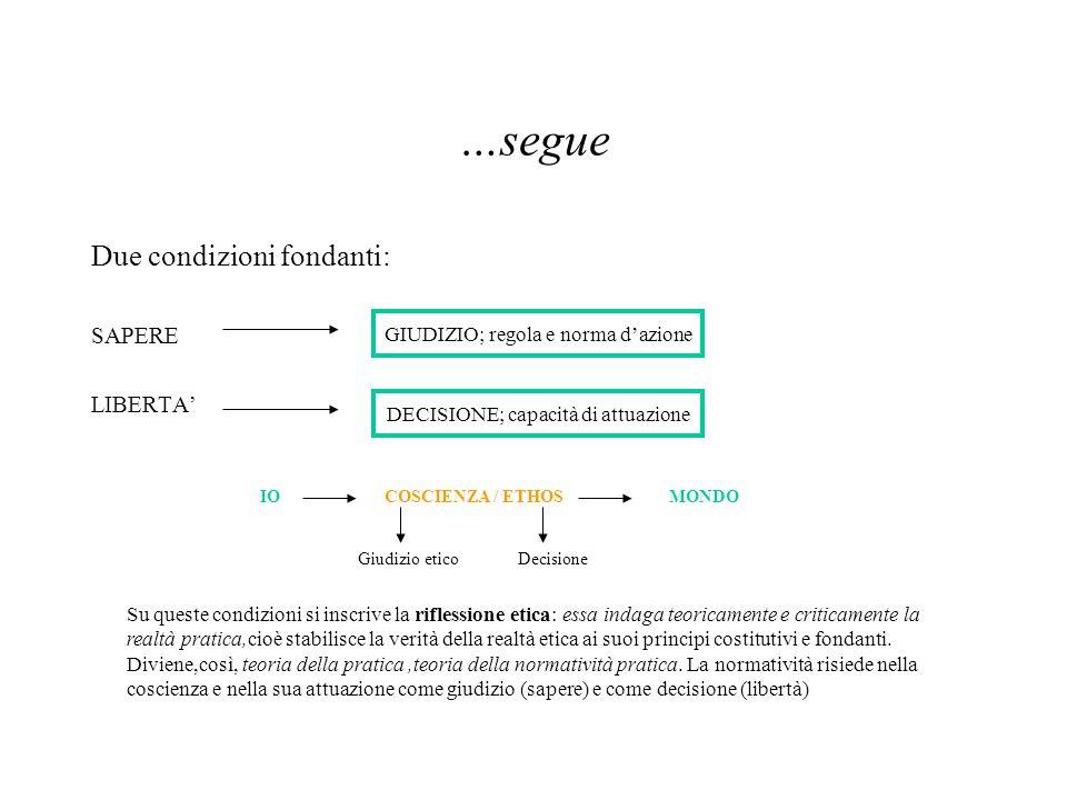 …segue Due condizioni fondanti: SAPERE LIBERTA' GIUDIZIO; regola e norma d'azione DECISIONE; capacità di attuazione IOCOSCIENZA / ETHOSMONDO Giudizio