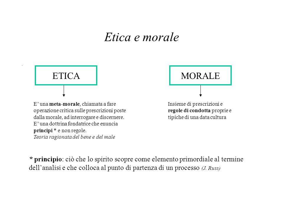 Etica e morale. ETICAMORALE Insieme di prescrizioni e regole di condotta proprie e tipiche di una data cultura E' una meta-morale, chiamata a fare ope