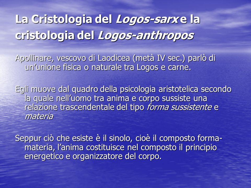 La Cristologia del Logos-sarx e la cristologia del Logos-anthropos Apollinare, vescovo di Laodicea (metà IV sec.) parlò di un'unione fisica o naturale
