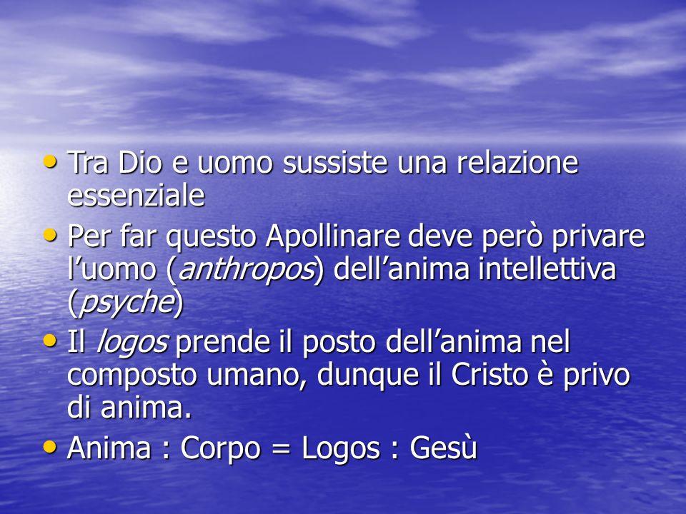 Tra Dio e uomo sussiste una relazione essenziale Tra Dio e uomo sussiste una relazione essenziale Per far questo Apollinare deve però privare l'uomo (