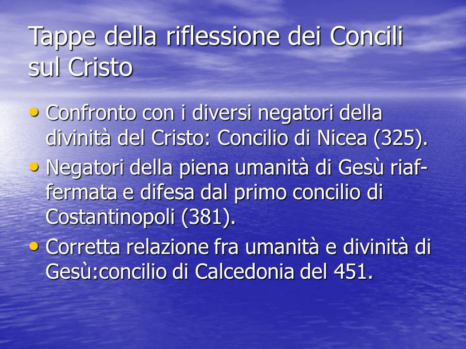 Tappe della riflessione dei Concili sul Cristo Confronto con i diversi negatori della divinità del Cristo: Concilio di Nicea (325). Confronto con i di
