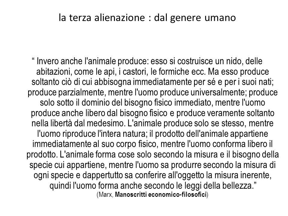 la terza alienazione : dal genere umano Invero anche l animale produce: esso si costruisce un nido, delle abitazioni, come le api, i castori, le formiche ecc.