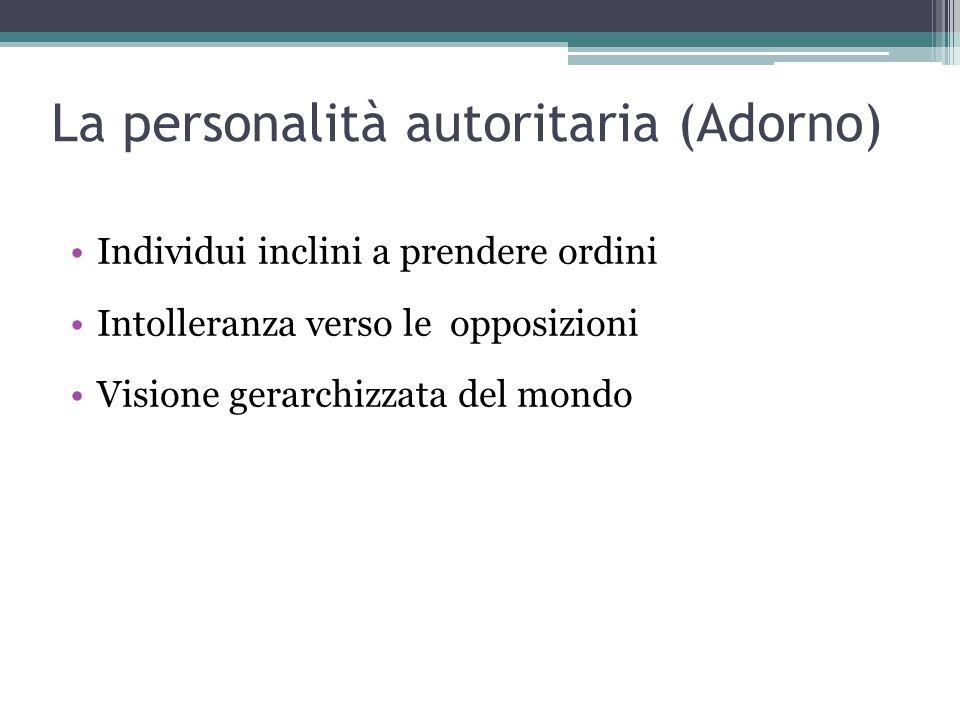 La personalità autoritaria (Adorno) Individui inclini a prendere ordini Intolleranza verso le opposizioni Visione gerarchizzata del mondo