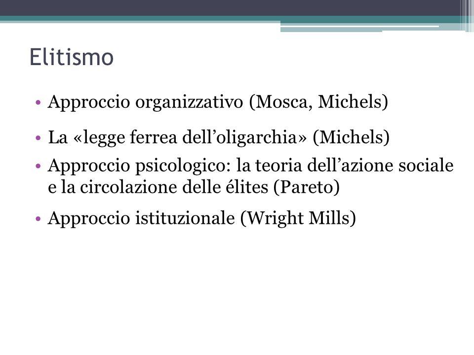Elitismo Approccio organizzativo (Mosca, Michels) La «legge ferrea dell'oligarchia» (Michels) Approccio psicologico: la teoria dell'azione sociale e l
